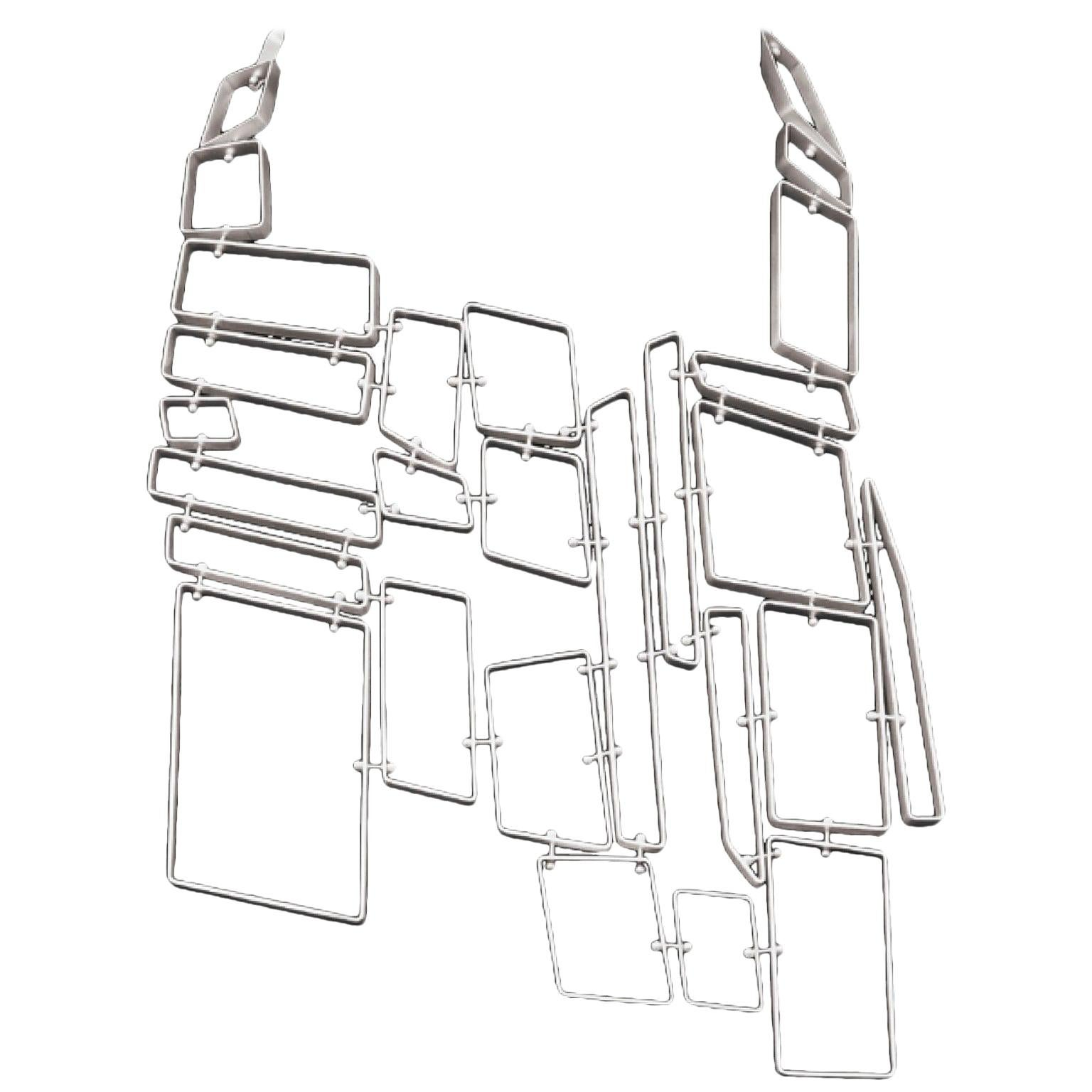 Nathalie Jean Contemporary Sterling Silver Limited Edition Link Drop Necklace