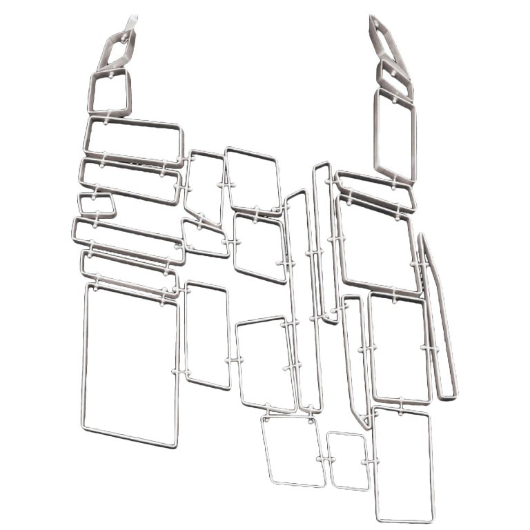 Nathalie Jean Contemporary Sterling Silver Limited Edition Link Drop Necklace For Sale