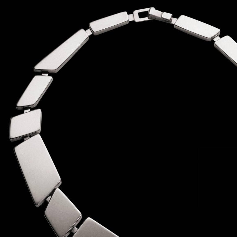 Nathalie Jean Contemporary Sterling Silver Limited Edition Link Necklace In New Condition For Sale In Milan, Lombardia