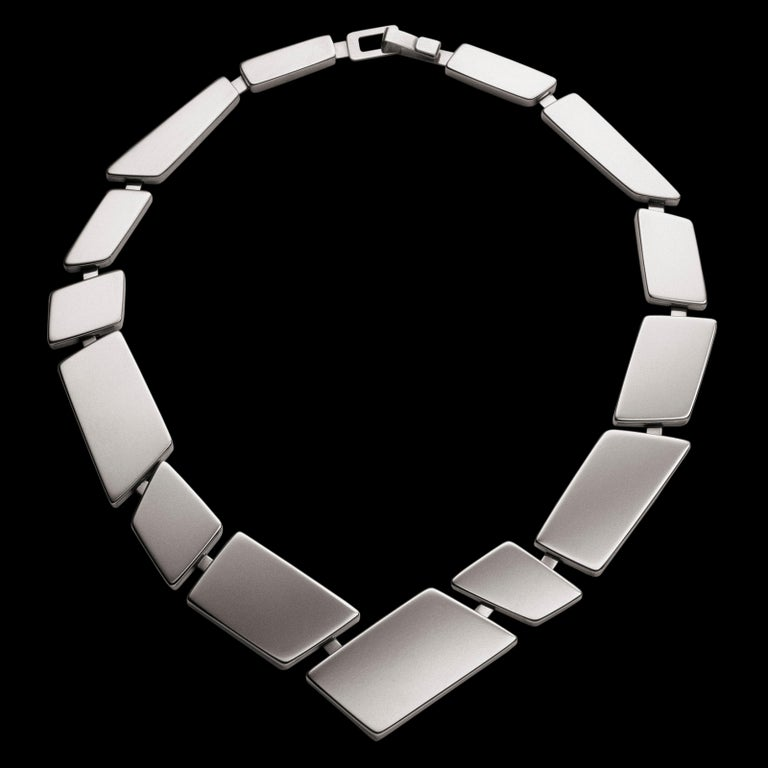 Nathalie Jean Contemporary Sterling Silver Limited Edition Link Necklace For Sale 2