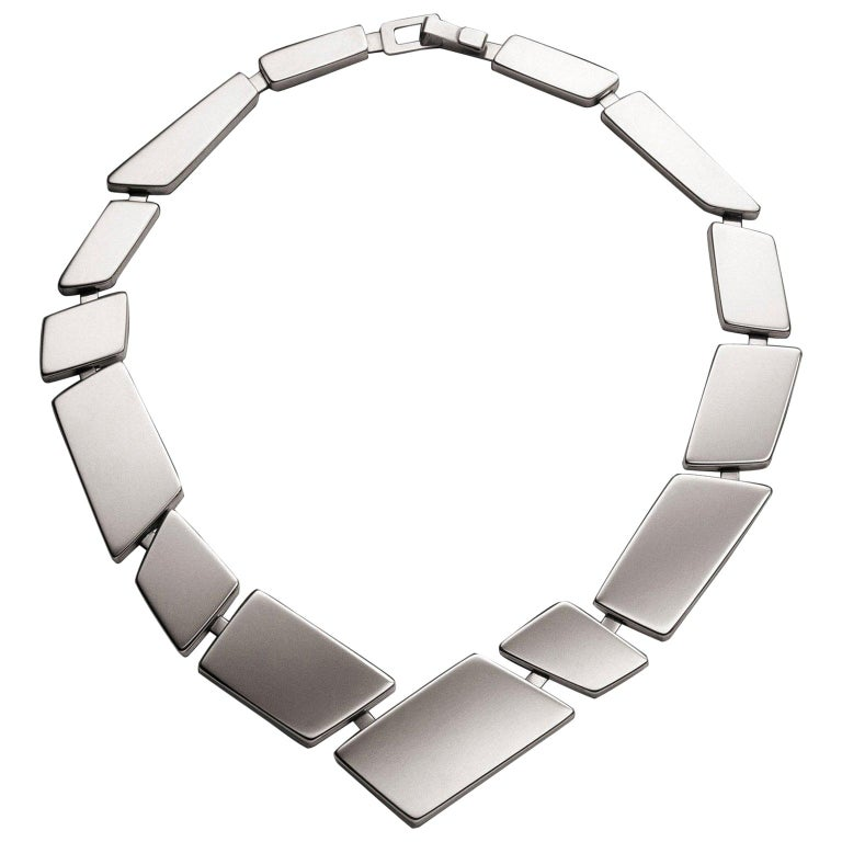 Nathalie Jean Contemporary Sterling Silver Limited Edition Link Necklace For Sale