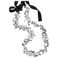 Nathalie Jean Contemporary Sterling Silver Silk Ribbon Link Chain Necklace