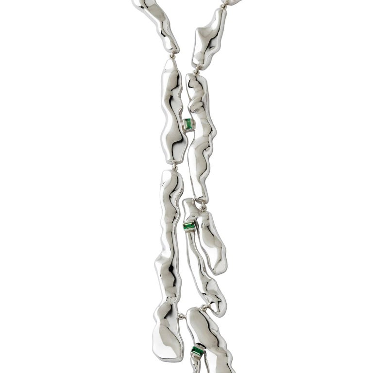 Nathalie Jean Contemporary Tourmaline Sterling Silver Drop Link Necklace In New Condition For Sale In Milan, Lombardia