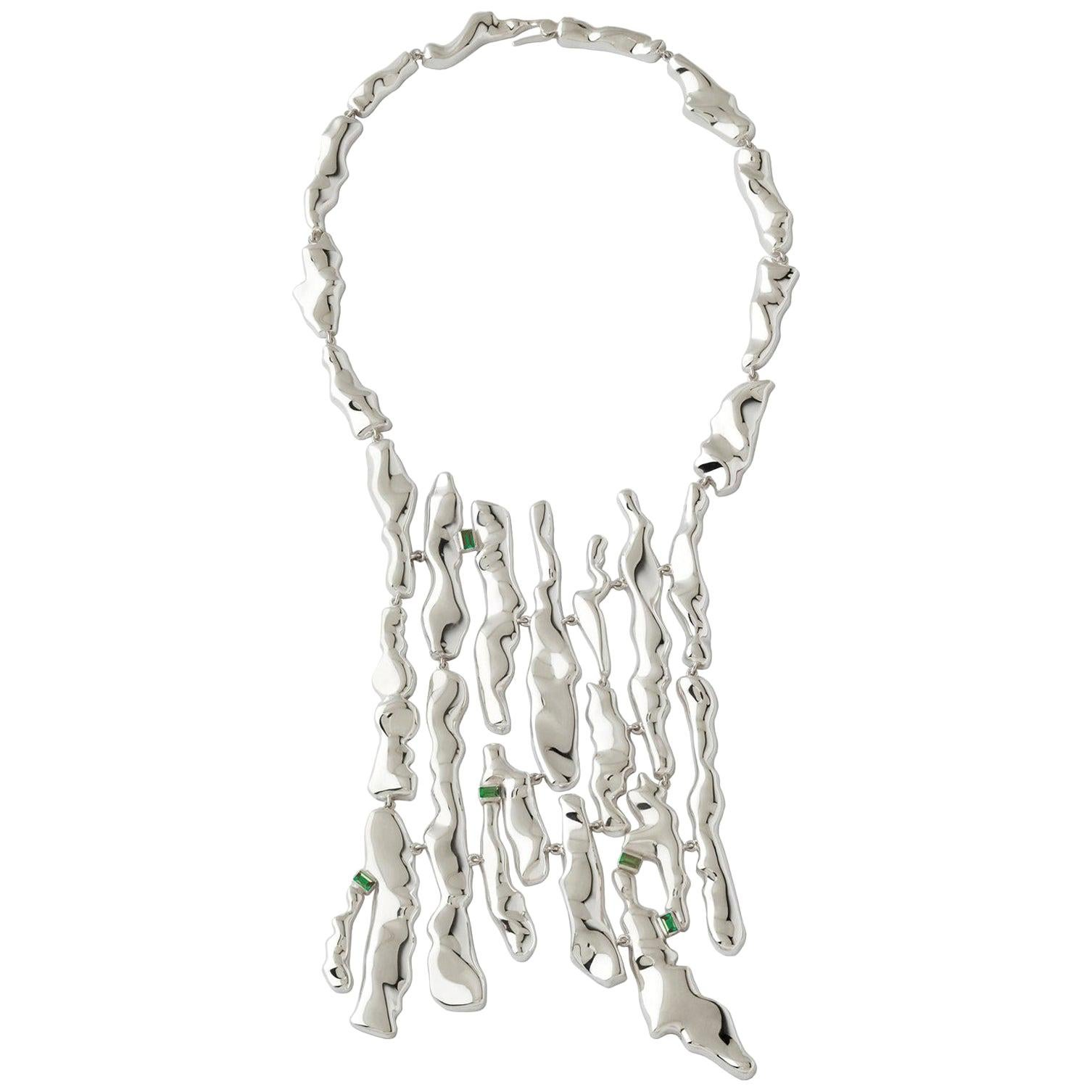 Nathalie Jean Contemporary Tourmaline Sterling Silver Drop Link Necklace