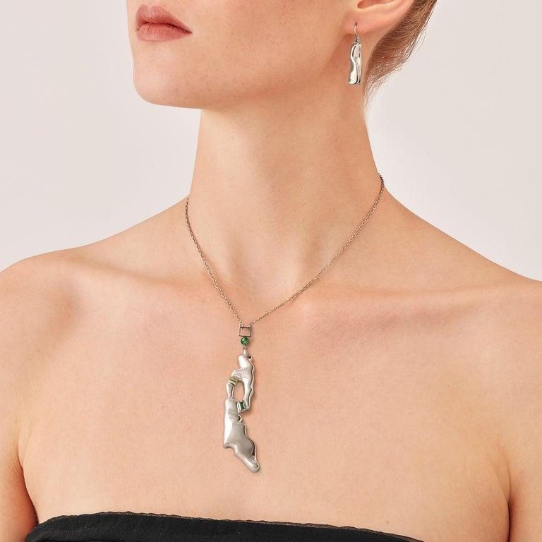 Baguette Cut Nathalie Jean Contemporary Tourmaline Sterling Silver Drop Pendant Necklace For Sale