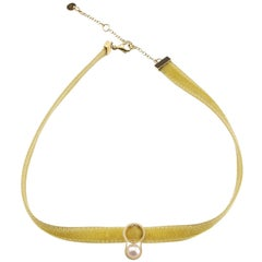 Nathalie Jean Contemporary Yellow Gold Pearl Velvet Choker Necklace