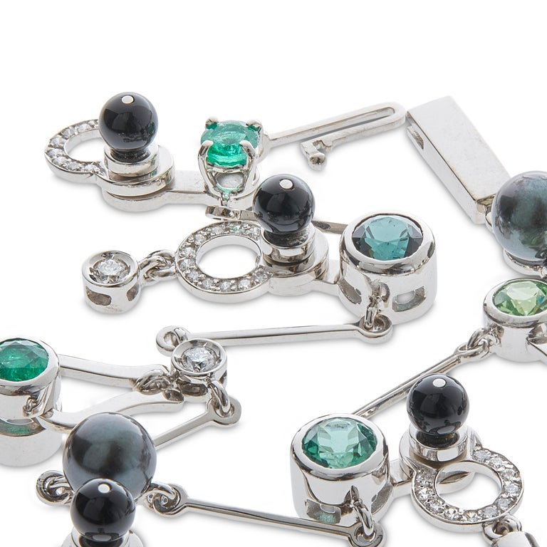 Nathalie Jean 0,58 Carat Diamond Emerald Tourmaline Pearl Onyx Gold Bracelet In New Condition For Sale In Milan, Lombardia