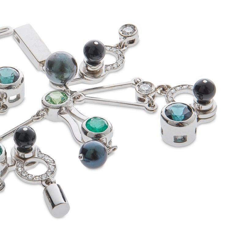 Women's or Men's Nathalie Jean 0,58 Carat Diamond Emerald Tourmaline Pearl Onyx Gold Bracelet For Sale