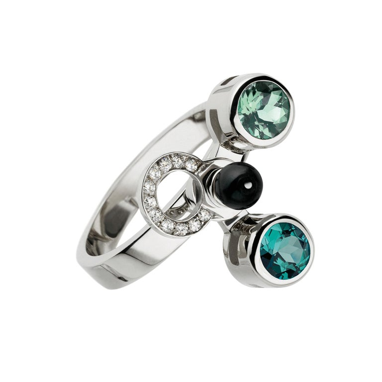 Round Cut Nathalie Jean 0,165ct Diamond Emeral Tourmaline Indicolite Pearl Onyx Gold Rings For Sale