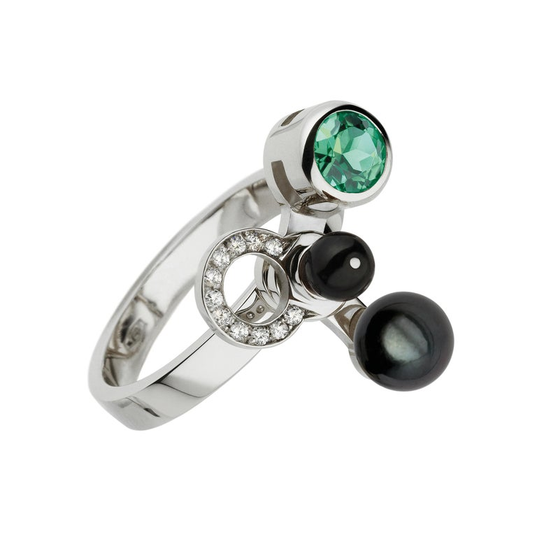 Nathalie Jean 0,165ct Diamond Emeral Tourmaline Indicolite Pearl Onyx Gold Rings In New Condition For Sale In Milan, Lombardia