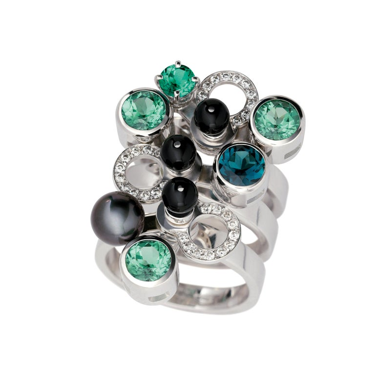 Nathalie Jean 0,165ct Diamond Emeral Tourmaline Indicolite Pearl Onyx Gold Rings For Sale