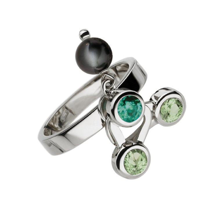 Nathalie Jean Diamond Emerald Tourmaline Pearl Gold Three Stack Rings In New Condition For Sale In Milan, Lombardia