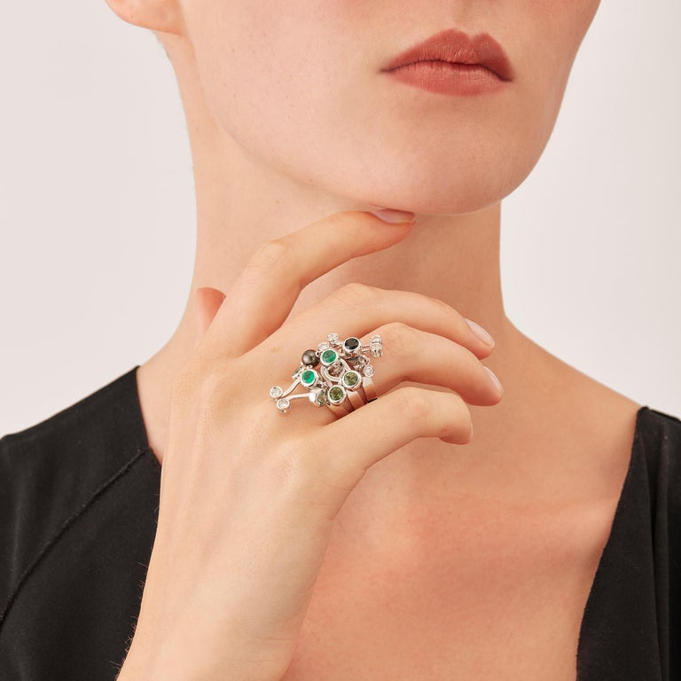Nathalie Jean Diamond Emerald Tourmaline Pearl Gold Three Stack Rings For Sale 1