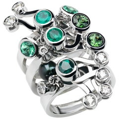Nathalie Jean Diamond Emerald Tourmaline Pearl Gold Three Stack Rings