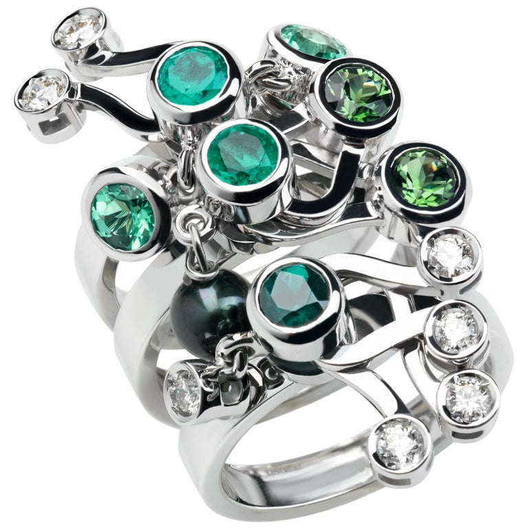 Nathalie Jean Diamond Emerald Tourmaline Pearl Gold Three Stack Rings For Sale
