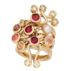 Nathalie Jean Diamond Ruby Tourmaline Pearl Gold Three Articulated Stack Rings