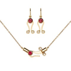 Nathalie Jean Diamond Tourmaline Gold Articulated Pendant Earrings Set