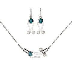 Nathalie Jean Diamond Tourmaline 18 Karat White Gold Pendant and Earrings Set