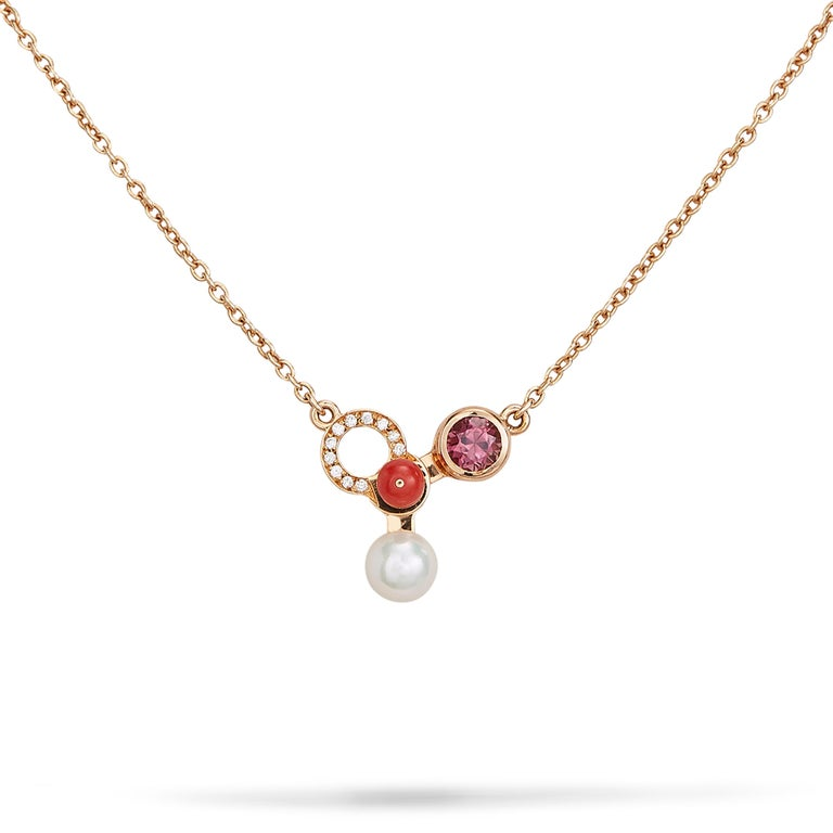 Round Cut Nathalie Jean Diamond Tourmaline Pearl Carnelian Gold Pendant Necklace For Sale