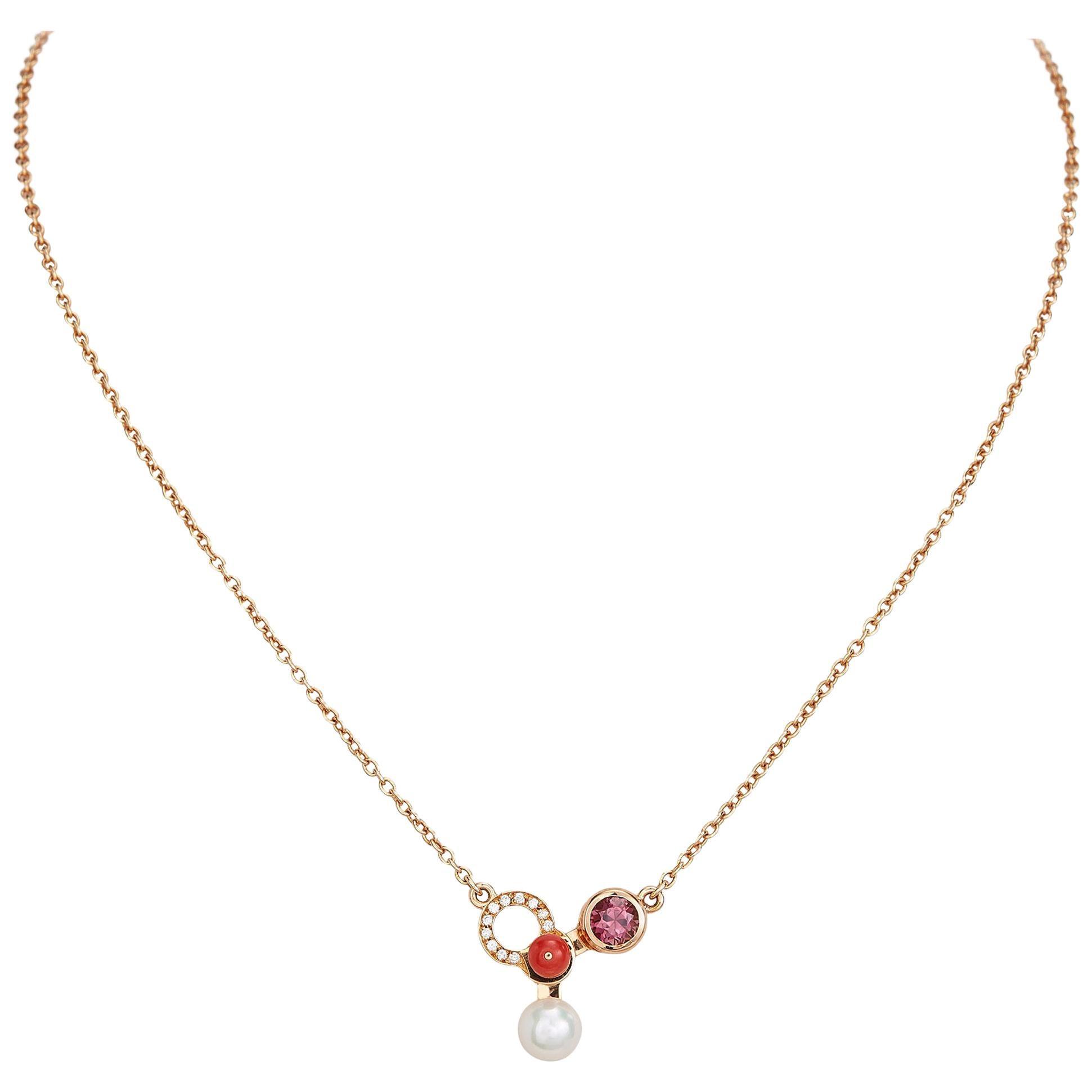 Nathalie Jean Diamond Tourmaline Pearl Carnelian Gold Pendant Necklace
