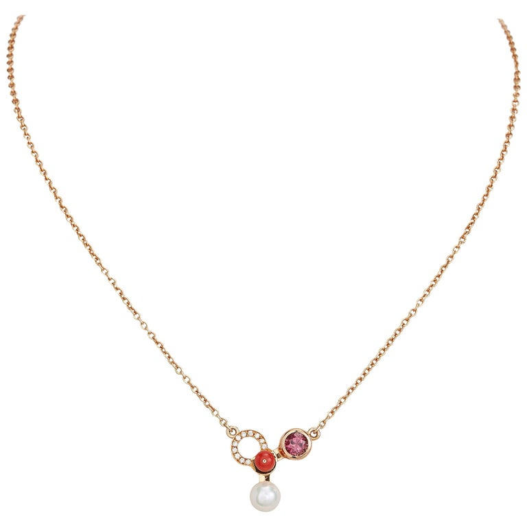 Nathalie Jean Diamond Tourmaline Pearl Carnelian Gold Pendant Necklace For Sale