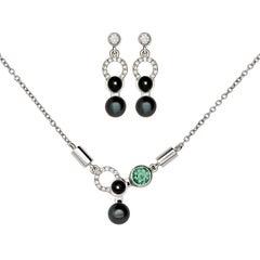 Nathalie Jean Diamond Tourmaline Pearl Onyx White Gold Pendant and Earrings Set