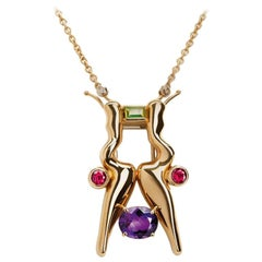 Nathalie Jean Diamond Tourmaline Peridot Amethyst Gold Brooch & Pendant Necklace