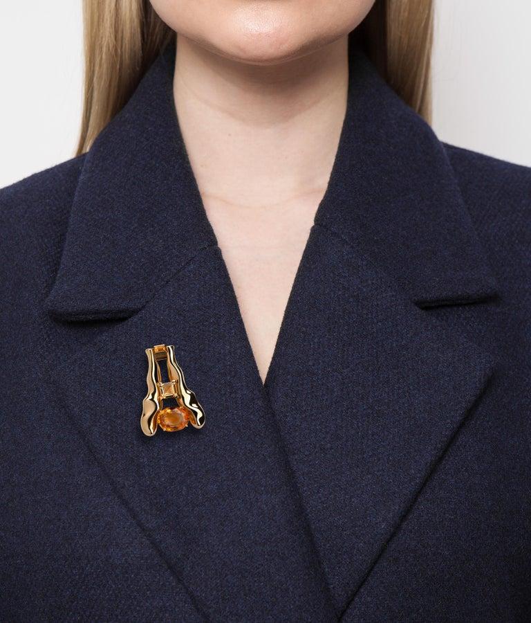 Oval Cut Nathalie Jean Palmeira Quartz Citrine Quartz Gold Brooch and Pendant Necklace For Sale