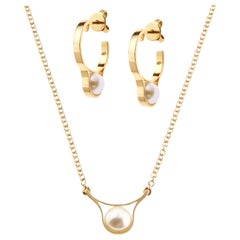 Nathalie Jean Pearl Yellow Gold Pendant Drop Necklace and Hoop Earrings Set