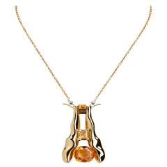 Nathalie Jean Quartz Gold Limited Edition Brooch and Pendant Chain Necklace
