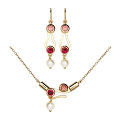 Nathalie Jean Ruby Tourmaline Pearl Gold Articulated Pendant and Earrings Set