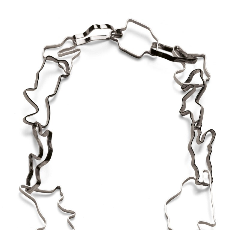 Contemporary Nathalie Jean Sterling Silver Limited Edition Small Chain Link Necklace For Sale