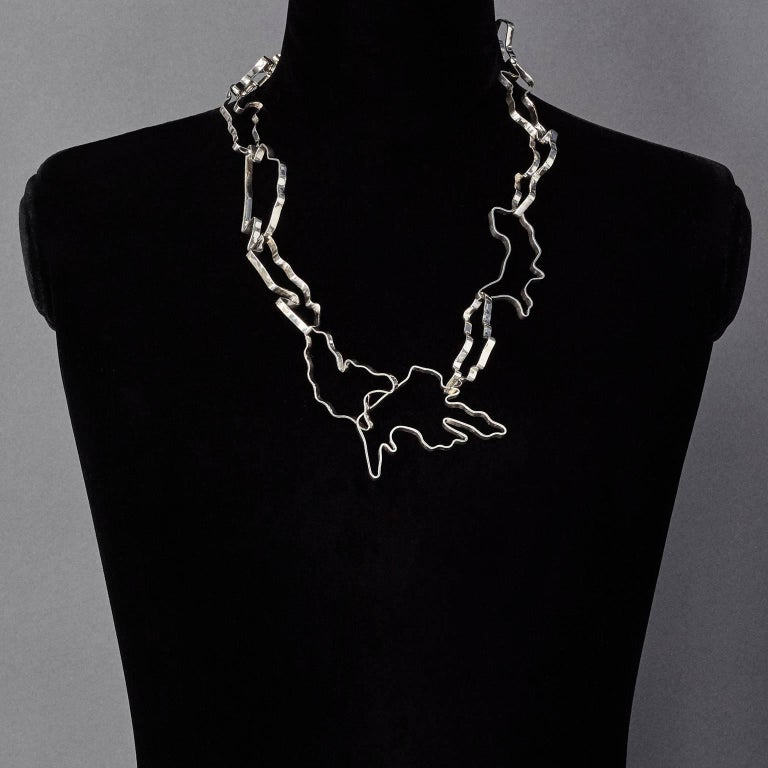 Nathalie Jean Sterling Silver Limited Edition Small Chain Link Necklace In New Condition For Sale In Milan, Lombardia
