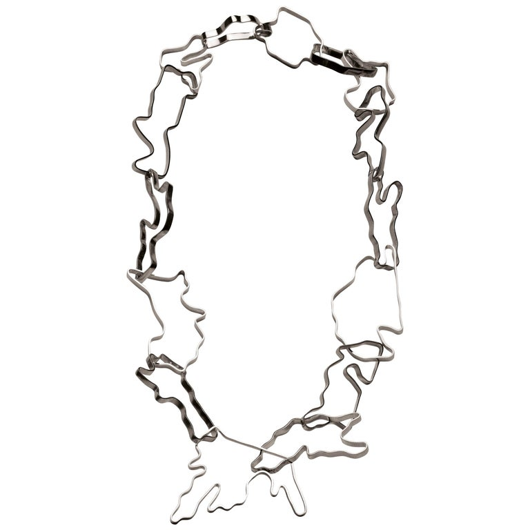 Nathalie Jean Sterling Silver Limited Edition Small Chain Link Necklace For Sale