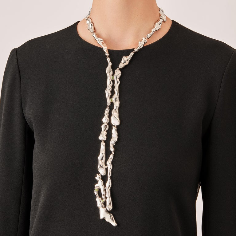 Contemporary Nathalie Jean Tourmaline Sterling Silver Limited Edition Drop Link Necklace For Sale