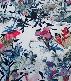 Fete V - original Floral flower realism painting Contemporary Art 21st Century