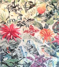 Fete VI - original Floral flower realism painting Contemporary Art 21st Century