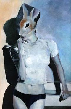 Biting - XXI century, Oil figurative painting, Bright colours