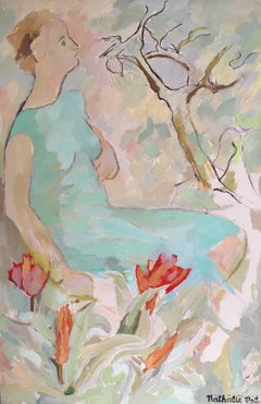 Large Impressionist Oil Painting of a Lady in Aquamarine