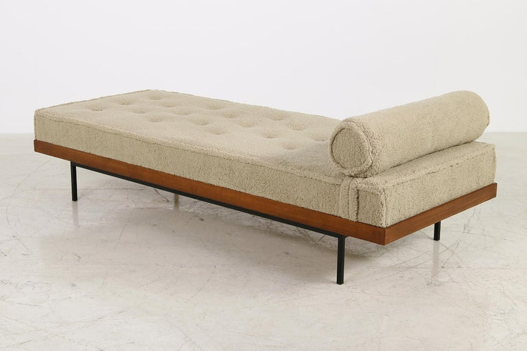 Beautiful Nathan Lindberg daybed model 31 made of solid Siberian Larch wood (larix sibirica), teak vintage stained (handmade, every piece is unique) all done in solid wood, metal base under the complete wood construction, solid made piece but in a