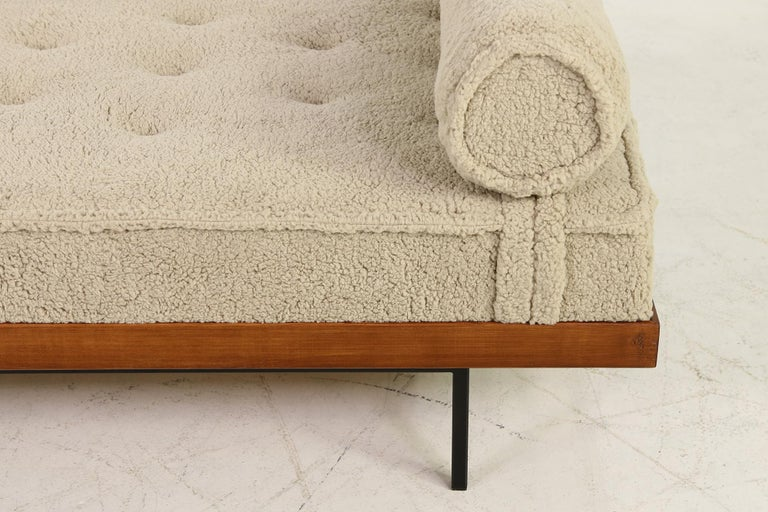 Mid-Century Modern Nathan Lindberg Daybed Mod. 31 Larch Wood, Teak, Tufted, Teddy Fur and Leather