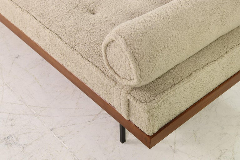 Contemporary Nathan Lindberg Daybed Mod. 31 Larch Wood, Teak, Tufted, Teddy Fur and Leather
