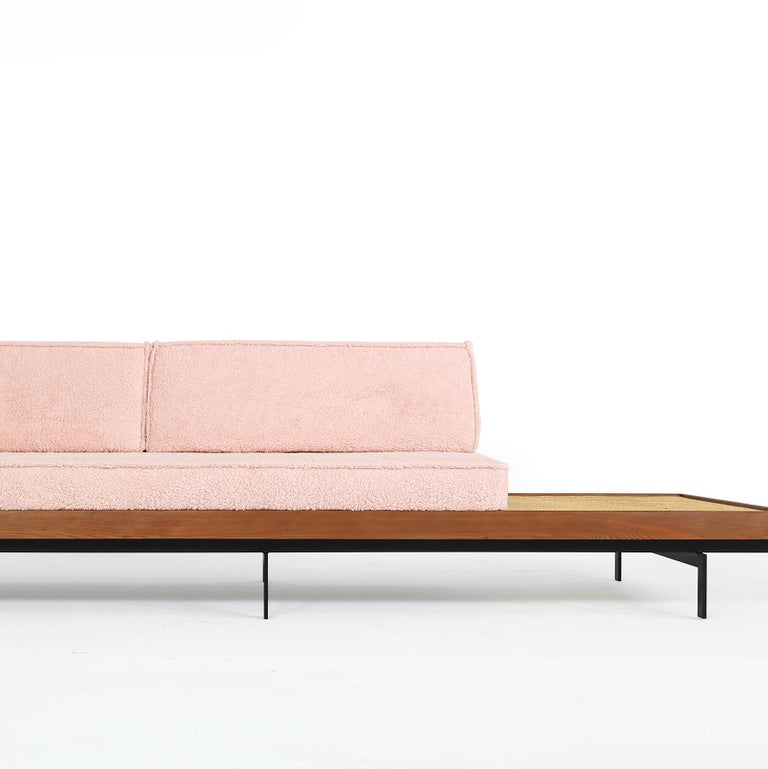 Nathan Lindberg Long Daybed Mod NL 31L Sofa Larch Wood, Steel, Cane, Teak, Table 3