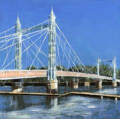 A Fine Day at Albert Bridge -  City London landscape painting contemporary 21st
