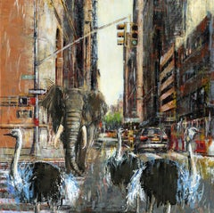 A Young King and 3 Musketeers  - cityscape wildlife painting contemporary 21st