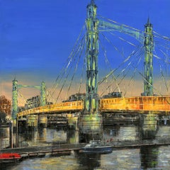 Albert Bridge in Green - cityscape London Thames painting contemporary 21st