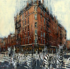 Balade in West Village - cityscape wildlife animal painting contemporary 21st