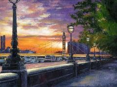 Before Sunset at Albert Bridge - original England City painting Contemporary