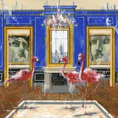 Blue Room and Flamingos - original city animals oil painting contemporary art