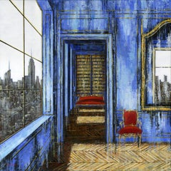 Blue saloon Empire State original Landscape interior painting - Contemporary Art